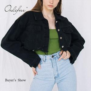 Image 3 - Женская джинсовая куртка Ordifree, модная Уличная Повседневная Свободная короткая рваная джинсовая куртка с длинным рукавом, осень 2020