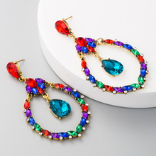 цена на Korean and European High Class Alloy Ear Jewelry Hollowing Out Oval Design Zinc Alloy Earrings with Water Drop Shape  Rhinestone
