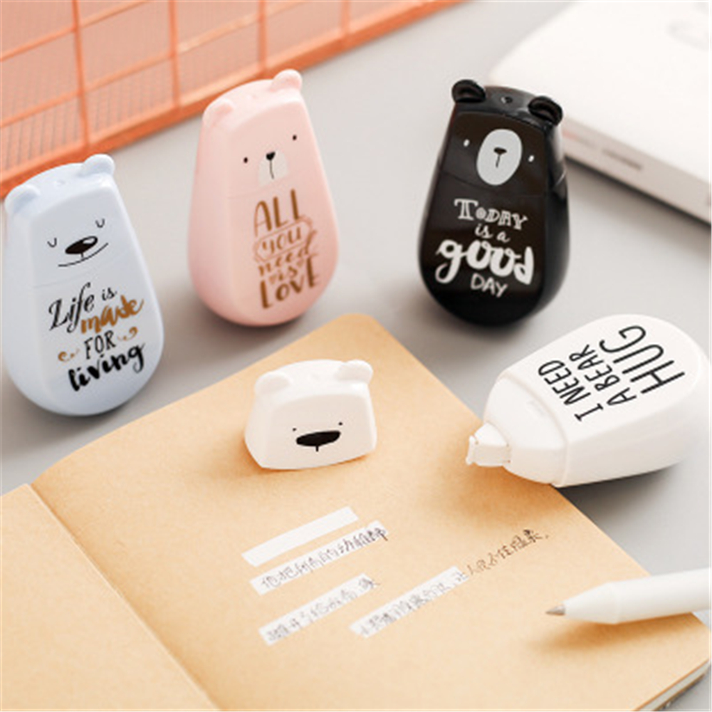 1 Pcs Cute Cartoon Bear Modelling Correction Tape Creative Simplicity Change Tape School Supplies
