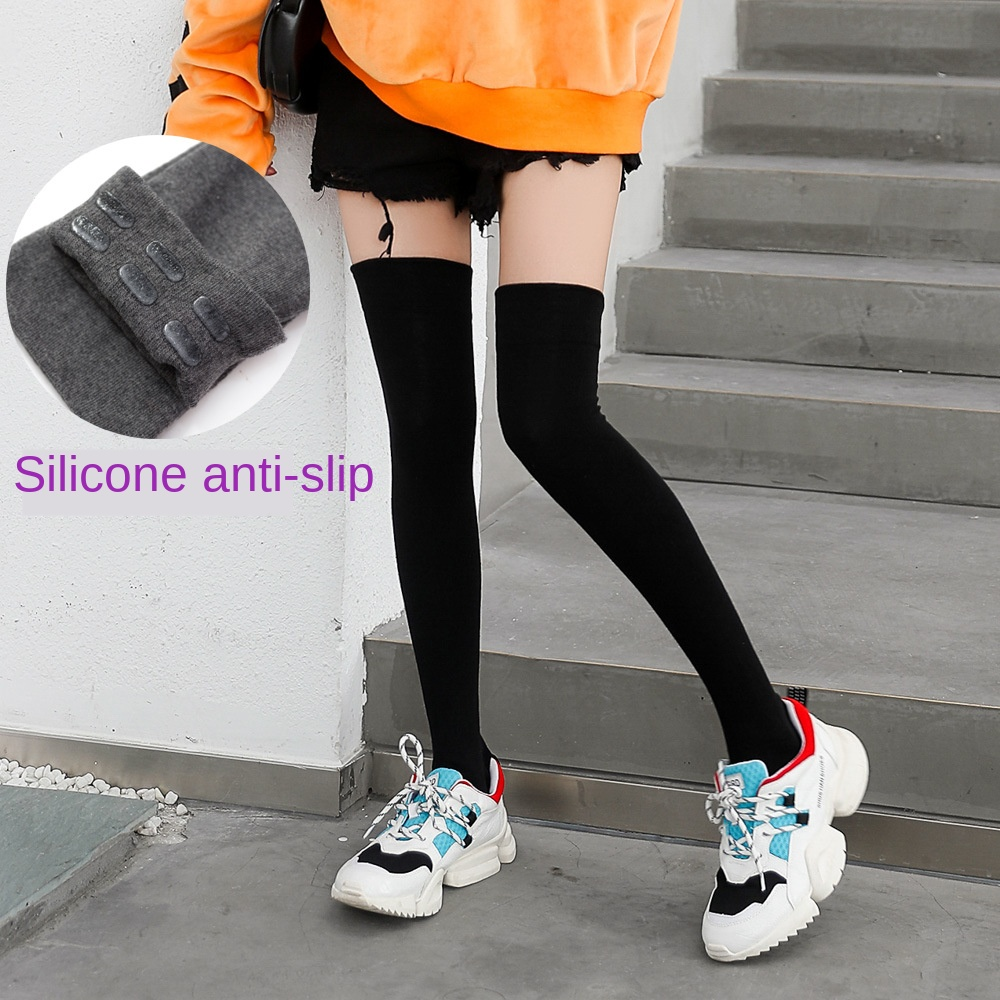 Silicone Non-slip Knee Socks Female Spring And Autumn Cotton Japanese High Stockings Pure Black Non-slip Stockings