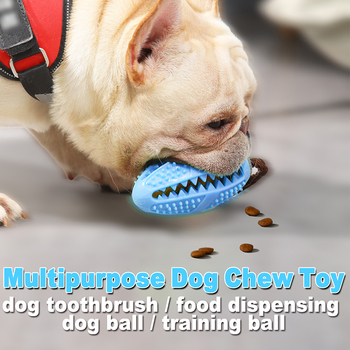Dog Chew Toy Interactive Food Dispenser Puppy Rubber Ball Dog Toothbrush Pet Molar Bite-Resistant Clean Teeth Pet Doy Supplies image