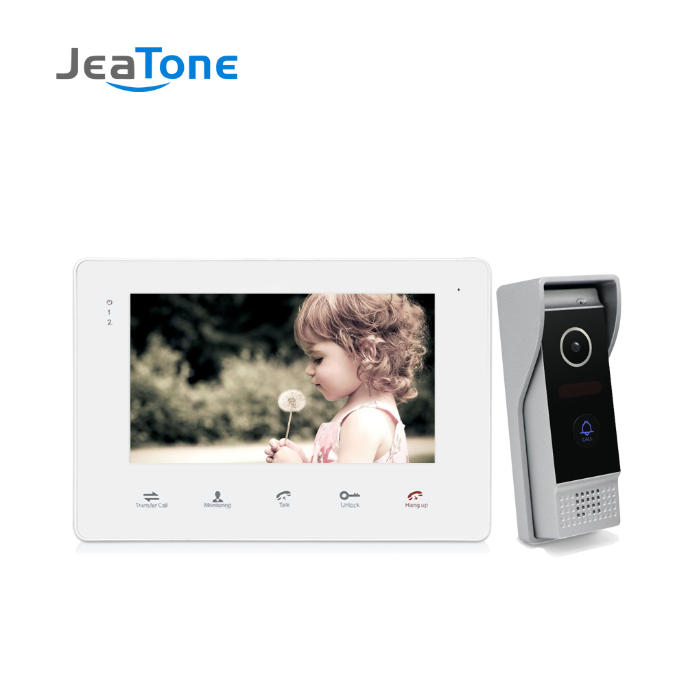 JeaTone 7 Inch Video Door Phone Intercom System White Video Door Entry Panel Intercoms For Private Home Call Panel