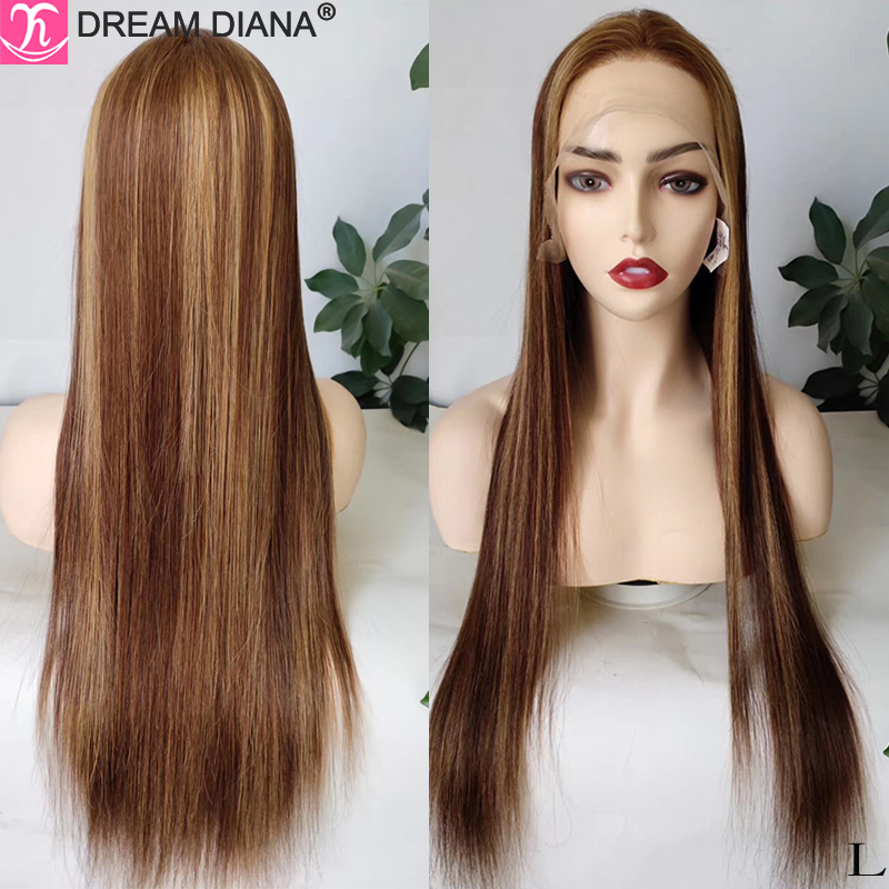 DreamDiana Ombre Straight Human Hair Wig Remy Hair 150 Density 13x4 Lace Front Human Hair Wigs 100% Colored Human Hair Wigs M