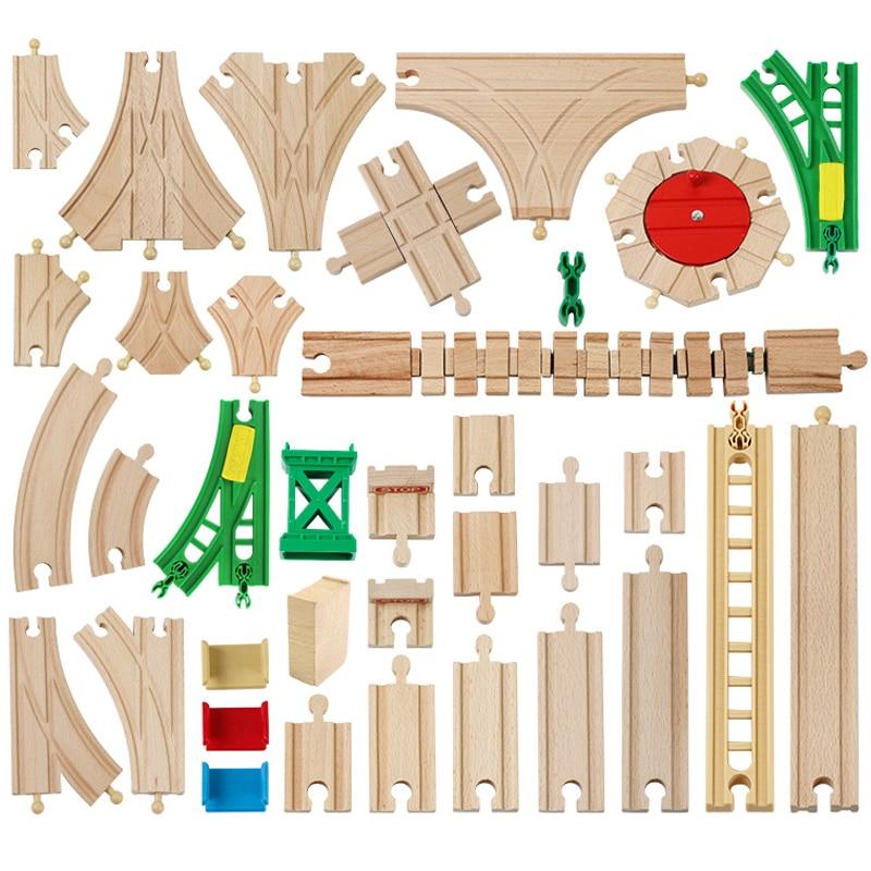 Новые разнообразные Детские Деревянная трасса Запчасти Бук деревянная железная дорога железнодорожные пути игрушки аксессуары подходят ...