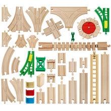 Novo todos os tipos de madeira peças pista de madeira faia trem ferroviário de madeira pista de brinquedo acessórios caber biro todas as marcas faixas de madeira brinquedos para crianças