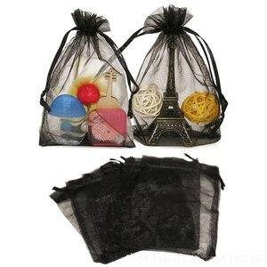 Image 4 - 100 ADET 7x9 9x12 10x15 15x20CM Organze hediye çantası İpli Organze Ambalaj çanta Düğün Parti Takı Çantası Hediye Torbalar 88