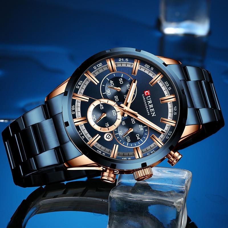 Curren Mens Watches Top Brand Luxury Blue Steel Quartz 2019 Chronograph Luxury Men Watch Blue Steel Men's Watch Blue Dial
