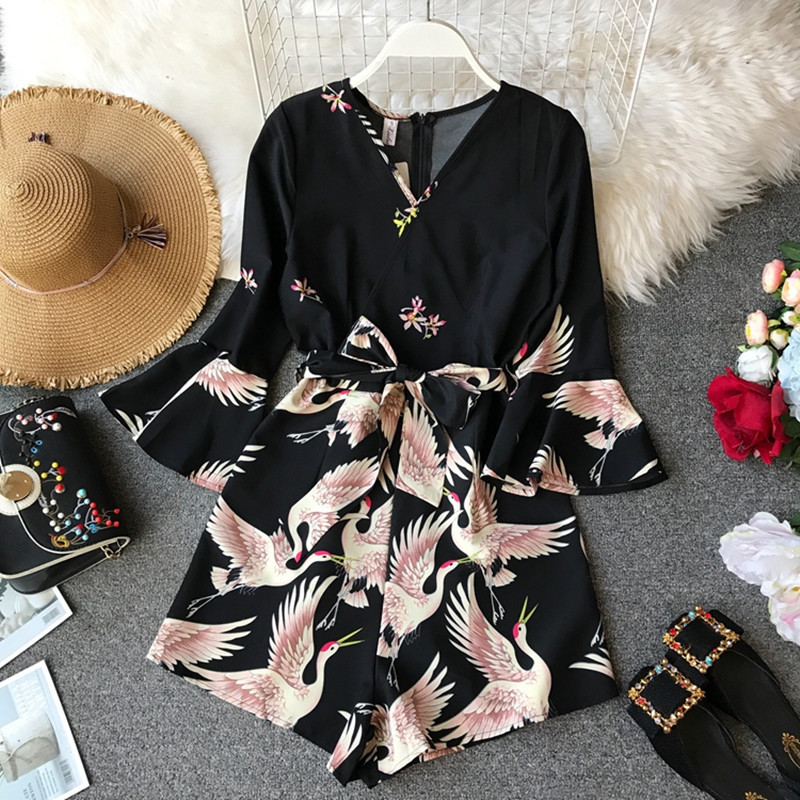 Sexy V neck Red crowned Crane Print Women Playsuit Romper Flare Sleeve Sash Belt Wide leg Short Holiday Jumpsuits Summer Overall