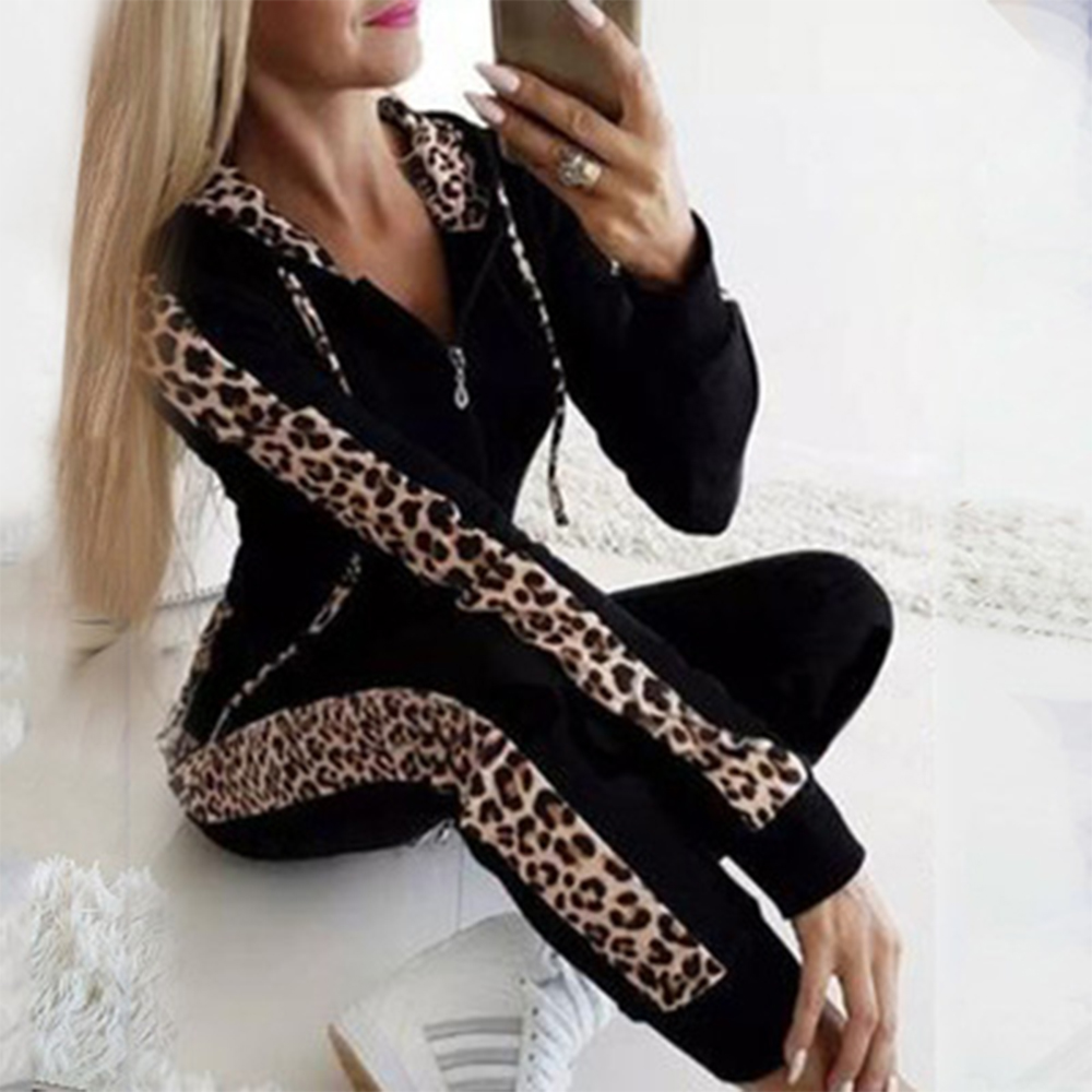 Leopard Print Tracksuit Two Piece Set Women Autumn Long Sleeve Zipper Hooded Sweatshirts+Pants Casual 2pcs Outfits Plus Size