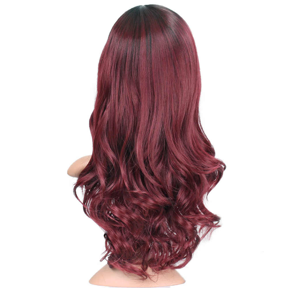 Damgalı şanlı 24 inç dalga peruk Ombre siyah kırmızı peruk sentetik uzun peruk kadınlar için orta kısmı ısıya dayanıklı iplik saç