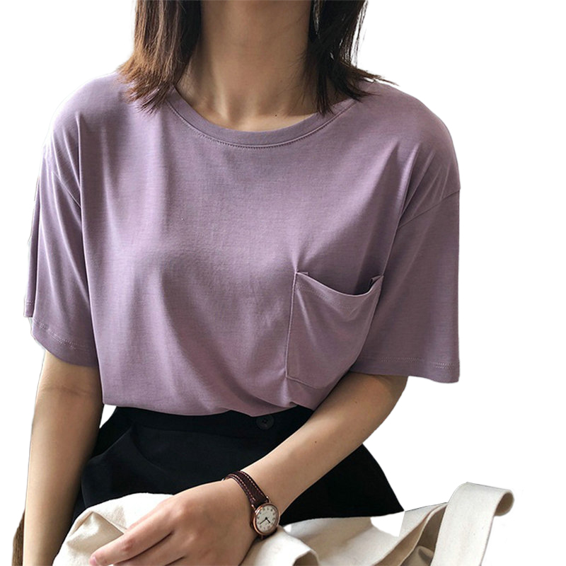 Tangada Women Solid Cotton T Shirt Short Sleeve O Neck Tees Ladies Pocket Tee Shirt Top High Quality ASF33