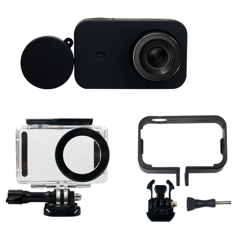 6 In 1 Camera Accessories Kit Waterproof Case+Side Protect Frame+Silicone Case+Lens Cover Case For Xiaomi Mi Jia Mini 4K Cam image