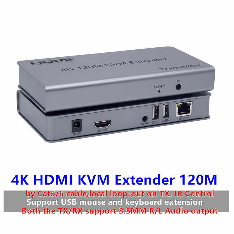 4K HDMI KVM Extender USB Mouse/Keyboard Extension 120M dengan Cat/RJ45/LAN Kabel IR Control TX/RX Mendukung 3.5 Mm R/L Audio Output