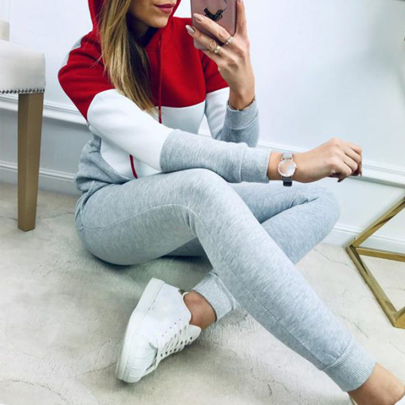 Missufe Plus Size Women Tracksuit Long Sleeve With Hat Tops And Slim Pants 2 Piece Set Workout Sporty Suits Sweatwear Outfits