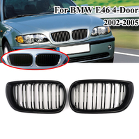 MagicKit 2pcs For BMW E46 4DR 3 Series 2002 2005 Car Style Gloss Black Front Kidney Double Slat Sport Grill Grille Car styling