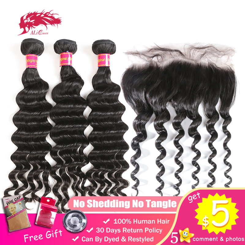 Ali Queen 3/4pcs Hair Bundle With 13x4 Lace Frontal Closure Brazilian Human Raw One-Donor Unprocessed Virgin Natural Wave Double