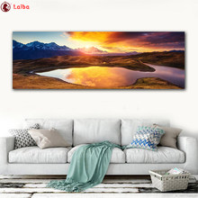 full Diy diamond painting Natural scenery, sunset, mountains and lake picture rhinestones embroidery diamond mosaic 5d