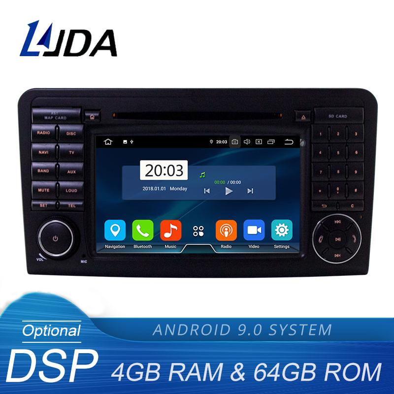 LJDA 2 Din Android 9,0 Автомагнитола для Mercedes Benz ML CLASS W164 ML350 ML300 Автомобильный мультимедийный плеер стерео аудио gps DVD wifi DSP