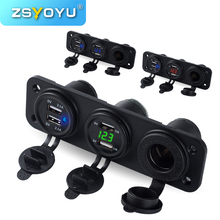 Adaptateur de chargeur de voiture à 4 Ports USB, voltmètre à montage sur panneau, prise allume cigare de voiture, 12V