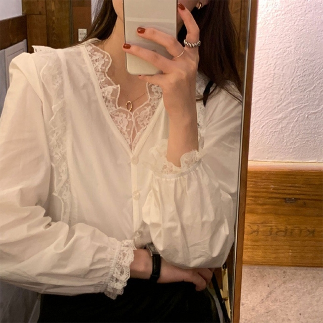 Korean Style Women Spring White Blouse Puff Long Sleeve Sexy V-Neck Shirt Button Down Ruffles Floral Lace Splicing Trim Office 4