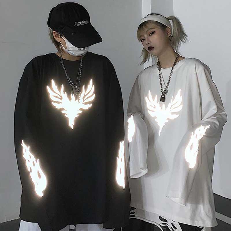 Camiseta de estilo Harajuku con estampado reflectante de 3M, tops para otoño, ropa de calle, Camiseta holgada de manga larga con cuello redondo, ropa para hombre y mujer|Camisetas| - AliExpress
