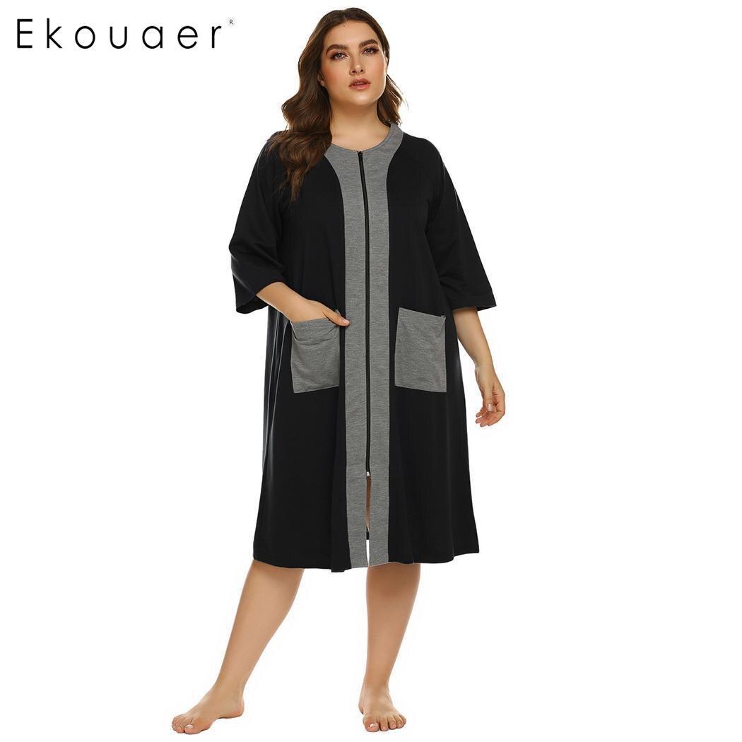 Ekouaer Plus Size Nightgown Women Half Sleeve Zipper Robe Pockets Loungewear Night Dress Ladies Nighties Sleepwear XL-5XL