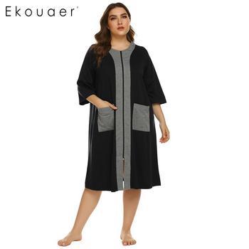 Ekouaer, camisón de talla grande para mujer, bata de media manga con cremallera y bolsillos, ropa de descanso, vestido de noche para señora, camisón, ropa de dormir, XL-5XL
