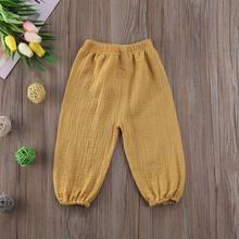 Pantalon froissé en coton pour bébé fille et garçon, Legging uni, Vintage, 6M-4T