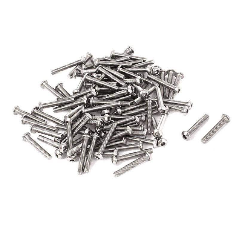 0.5mm Pitch <font><b>M3x20mm</b></font> Button Head Hex Socket Bolts Screws 100 Pcs image