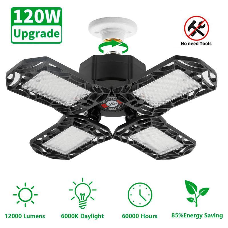 120W LED Garage Lights Deformable LED Garage Ceiling Light LED Shop Lamp Industrial Lamps With 4 Adjustable Panels For Workshop