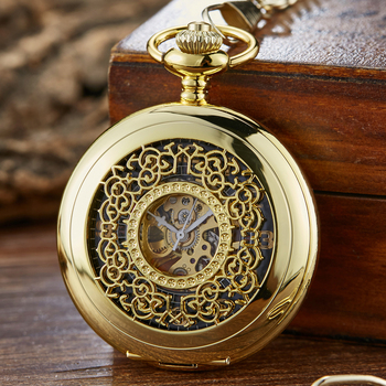 Golden Vintage Luminous Automatic Mechanical Carved Pocket Watch Steampunk Skeleton FOB Chain Hand Winding Hollow For Men Women golden black sliver antique hollow automatic mechanical pocket watch fob chain hand winding full steel sculpture for men wome