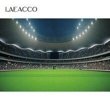 Laeacco Fondo de fotografía de campo de fútbol verde, para fiesta de cumpleaños, personalizado, sesión fotográfica