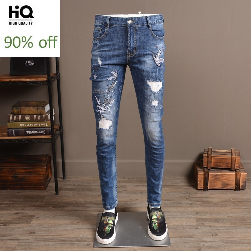 Jeans Masculino 2020 Fashion Brand Men Jeans Full Length Slim Fit Pencil Pant Man Casual Embroidery Classic Distressed Jean Man