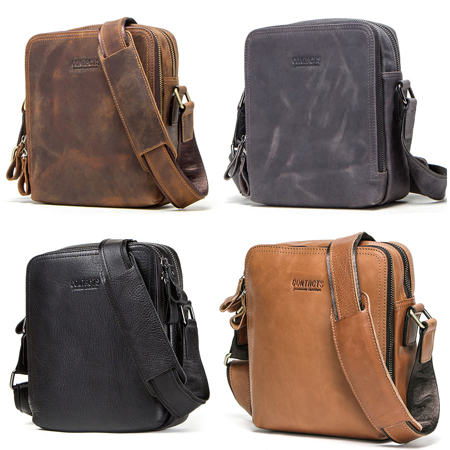 CONTACT'S 2019 new genuine leather men's messenger bag vintage shoulder bags for 7.9 4