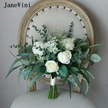 Bridesmaid Flower Bouquet Roses Silk Handmade Janevini White Green European Boho Eucalyptus-Leaf
