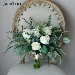 JaneVini Vintage European White Wedding Bouquets Handmade Silk Roses Green Eucalyptus Leaf Boho Bridal Bridesmaid Flower Bouquet
