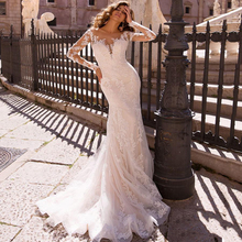 Long Lace Mermaid Wedding Dresses 2020 Sheer Mesh Top Applique Sweep Train Wedding Bridal Gowns With Detachable Skirt