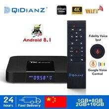 Mini smart tv box tx3 s905w, quad core, 2.4ghz, wi fi, android 8.1, suporte 4k, netflix, youtube, media player tx3mini conjunto caixa superior