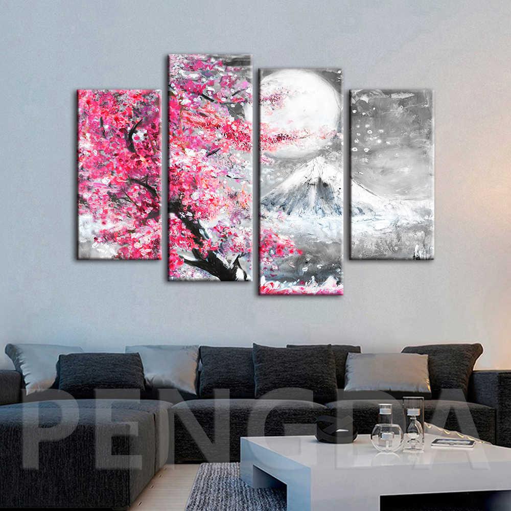בד HD הדפסי פוסטר לסלון מודרני קיר אמנות נוף ורוד סאקורה ציור מודולרי עיצוב הבית תמונה מסגרת