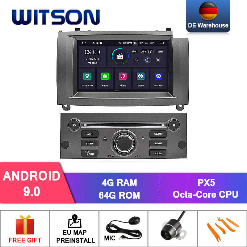 DE สต็อก! WITSON รถ DVD PLAYER สำหรับ PEUGEOT 407 Android 9.0 4 + 64GB IPS HD สเตอริโอ 8 Octa core + DVR/WIFI + DSP + DAB + OBD