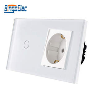 Bingoelec Touch-Switch Glass-Panel Germany-Socket 1gang with Eu-Type Crystal 86--157mm