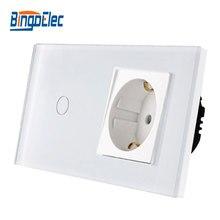 Bingoelec Heißer Verkauf 1Gang 1Way Touch Schalter Mit EU Typ Sockel, 16A Deutschland Buchse, kristall Glas Panel Licht Schalter 86*157mm