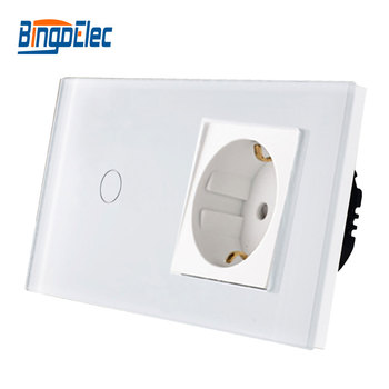 Bingoelec Hot Sale 1Gang 1Way Touch Switch With EU Type Socket,16A Germany Socket, Crystal Glass Panel Light Switch 86*157mm chint lighting switches 118 type switch panel new5d steel frame four position six gang two way switch panel