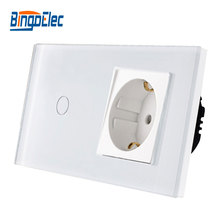 Bingoelec interruptor de toque 1gang, 1way com tomada tipo eu, soquete da alemanha 16a, painel de vidro cristal interruptor de luz 86*157mm