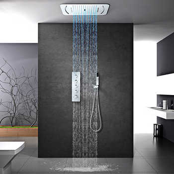 M Boenn LED Shower Head Rain Shower System Set Thermostatic Valve Bathroom Faucet Concealed Mixer Embedded Ceiling Shower panel