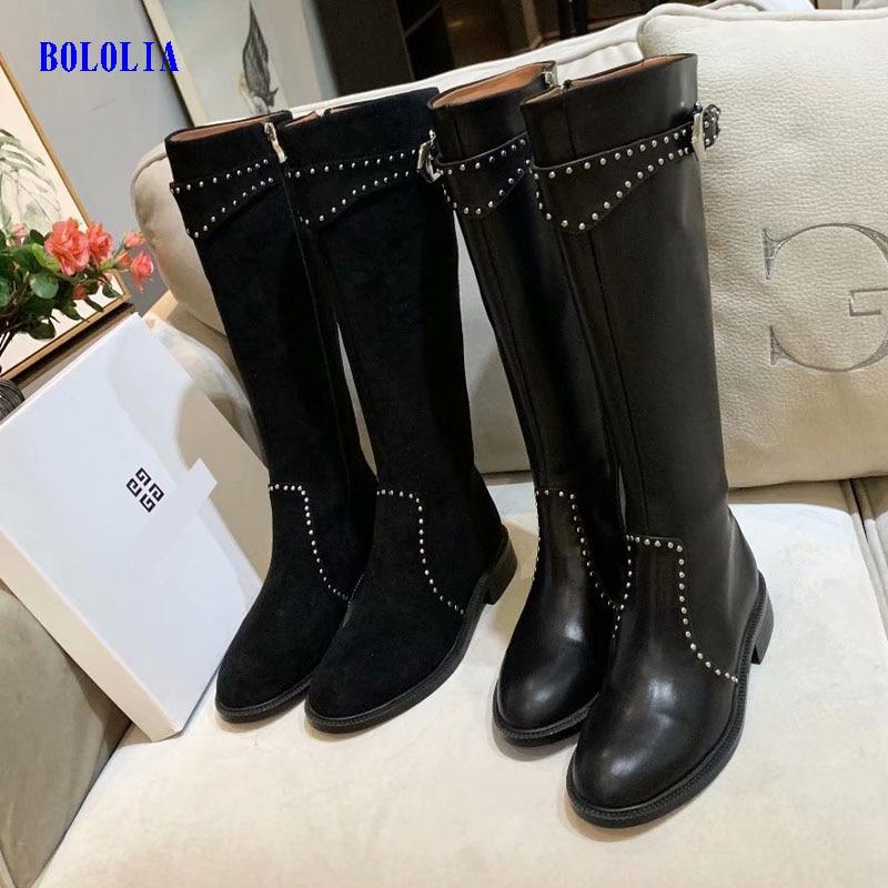 Botas de cuero genuino de alta calidad para mujer, botas de otoño e invierno, botas altas hasta la rodilla, zapatos Martin para mujer - 6