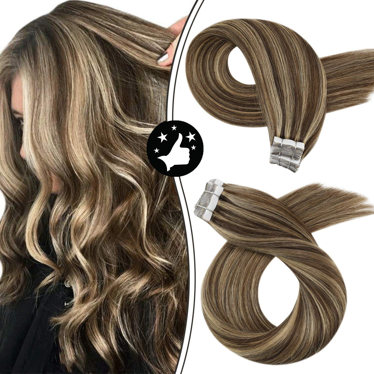 Tape in Extensions Highlights P4/27 Adhesive PU Tape Machine Remy Seamless Glue in Hair Silky Straight 100% Real Human Hair