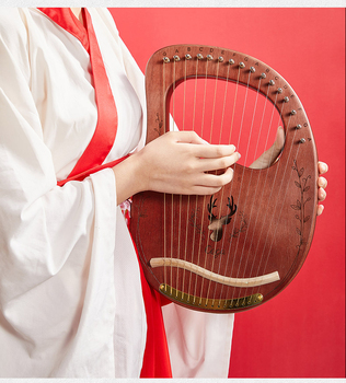 Reindeer+19+Strings++Wooden+Mahogany+Lyre+Harp++Musical+Instrument+16+trings+with+Pickup+Tuning+Tool+Cleaning+Cloth