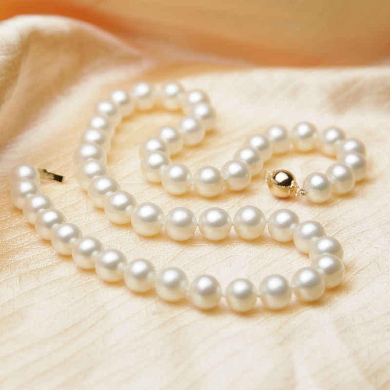 חמה # # סיטונאי משלוח> אופנה AAA אמיתי 8-9mm לבן פנינים מתורבתות שרשרת 14 k/ 585 מוצק זהב אבזם