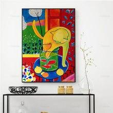 Винтажный постер матиссе кошка ловкая рыба искусство холст живопись